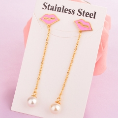 stainless steel women enamel Lips earring ES-1921D