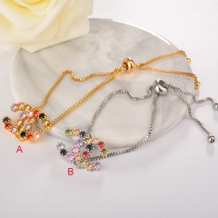 stainless steel adjustable chain copper zircon charms bracelet KKBS-0054