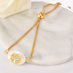 stainless steel adjustable chain copper zircon charms bracelet TTTB-0010