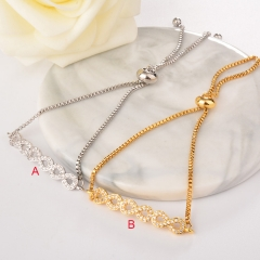 stainless steel adjustable chain copper zircon charms bracelet TTTB-0021