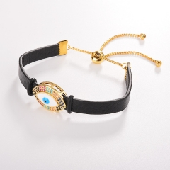 stainless steel adjustable leather jewelry copper zircon charms bracelet TTTB-0111