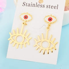 New Exaggerated Evil Eye Stainless Steel Earrings for Women XXXE-0052