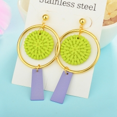 Wholesale trending new model gold handmade wood bamboo woven rattan drop earring  jewelry XXXE-00192
