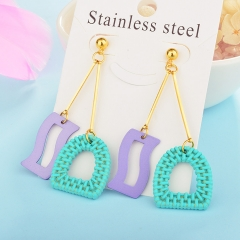 Wholesale trending new model gold handmade wood bamboo woven rattan drop earring  jewelry XXXE-00208
