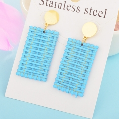 Wholesale trending new model gold handmade wood bamboo woven rattan drop earring  jewelry XXXE-00220