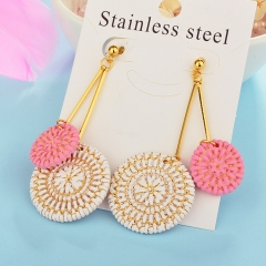 Wholesale trending new model gold handmade wood bamboo woven rattan drop earring  jewelry XXXE-00210