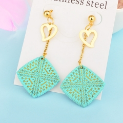 Wholesale trending new model gold handmade wood bamboo woven rattan drop earring  jewelry XXXE-00216