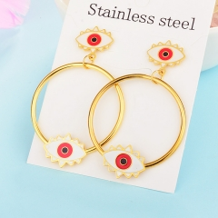 New Exaggerated Evil Eye Stainless Steel Earrings for Women XXXE-0051