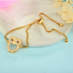 stainless steel adjustable chain copper zircon charms bracelet TTTB-0033