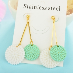 Wholesale trending new model gold handmade wood bamboo woven rattan drop earring  jewelry XXXE-00199