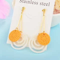 Wholesale trending new model gold handmade wood bamboo woven rattan drop earring  jewelry XXXE-00200