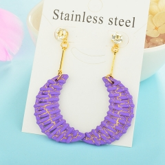 Wholesale trending new model gold handmade wood bamboo woven rattan drop earring  jewelry XXXE-00196