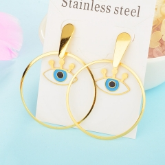 New Exaggerated Evil Eye Stainless Steel Earrings for Women XXXE-0059