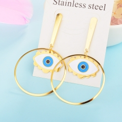 New Exaggerated Evil Eye Stainless Steel Earrings for Women XXXE-0060