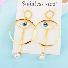 New Exaggerated Evil Eye Stainless Steel Earrings for Women XXXE-0053