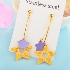 Wholesale trending new model gold handmade wood bamboo woven rattan drop earring  jewelry XXXE-00221