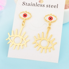 New Exaggerated Evil Eye Stainless Steel Earrings for Women XXXE-0058