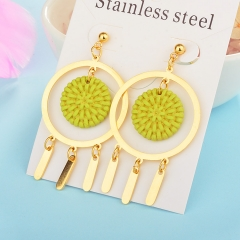 Wholesale trending new model gold handmade wood bamboo woven rattan drop earring  jewelry XXXE-00203