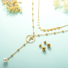 gold plated lucky eye necklace double layer necklace set for women  STAO-2449