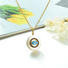 Stainless Steel Chain and Brass Pendant Necklace TTTN-0172