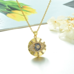 Stainless Steel Chain and Brass Pendant Necklace  TTTN-0184B