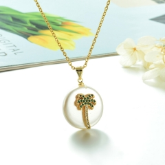 Stainless Steel Chain and Brass Pendant Necklace TTTN-0171