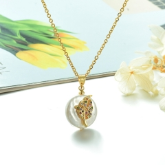 Stainless Steel Chain and Brass Pendant Necklace TTTN-0167