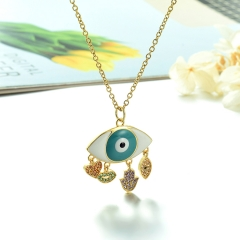 Stainless Steel Chain and Brass Pendant Necklace TTTN-0177