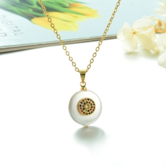 Stainless Steel Chain and Brass Pendant Necklace TTTN-0164
