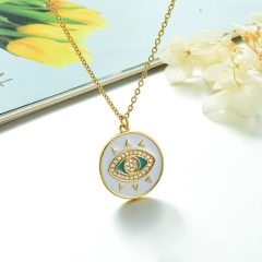 Stainless Steel Chain and Brass Pendant Necklace TTTN-0188B