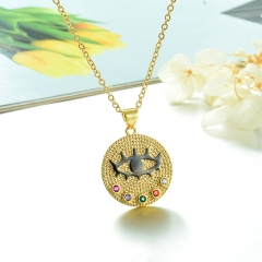 Stainless Steel Chain and Brass Pendant Necklace TTTN-0180