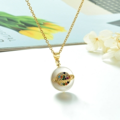 Stainless Steel Chain and Brass Pendant Necklace TTTN-0170