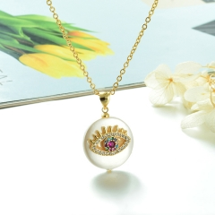 Stainless Steel Chain and Brass Pendant Necklace TTTN-0173