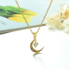 Stainless Steel Chain and Brass Pendant Necklace TTTN-0155