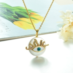 Stainless Steel Chain and Brass Pendant Necklace TTTN-0154