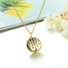 Stainless Steel Chain and Brass Pendant Necklace TTTN-0195