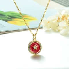 Stainless Steel Chain and Brass Pendant Necklace TTTN-0161