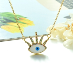Stainless Steel Chain and Brass Pendant Necklace TTTN-0153