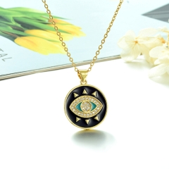 Stainless Steel Chain and Brass Pendant Necklace TTTN-0188A