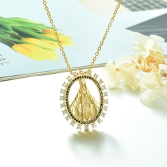 Stainless Steel Chain and Brass Pendant Necklace TTTN-0187