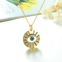 Stainless Steel Chain and Brass Pendant Necklace TTTN-0159