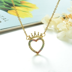 Stainless Steel Chain and Brass Pendant Necklace TTTN-0196