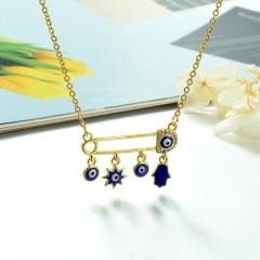 Stainless Steel Chain and Brass Pendant Necklace TTTN-0197