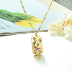 Stainless Steel Chain and Brass Pendant Necklace TTTN-0162