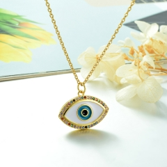 Stainless Steel Chain and Brass Pendant Necklace TTTN-0151A