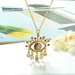 Stainless Steel Chain and Brass Pendant Necklace TTTN-0158