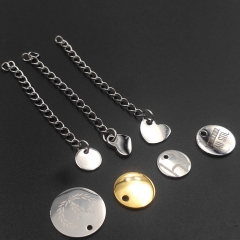 Custom make stainless steel logo disc for necklace