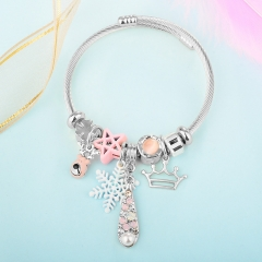 Stainless Steel Bracelet With Alloy Charms BS-1844A