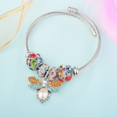 Stainless Steel Bracelet With Alloy Charms BS-1847A