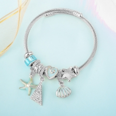 Stainless Steel Bracelet With Alloy Charms BS-1846A